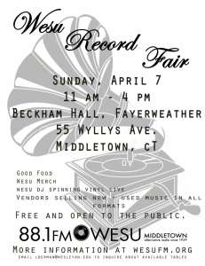 WESU Record Fair APril 7 2013 - Middletown CT
