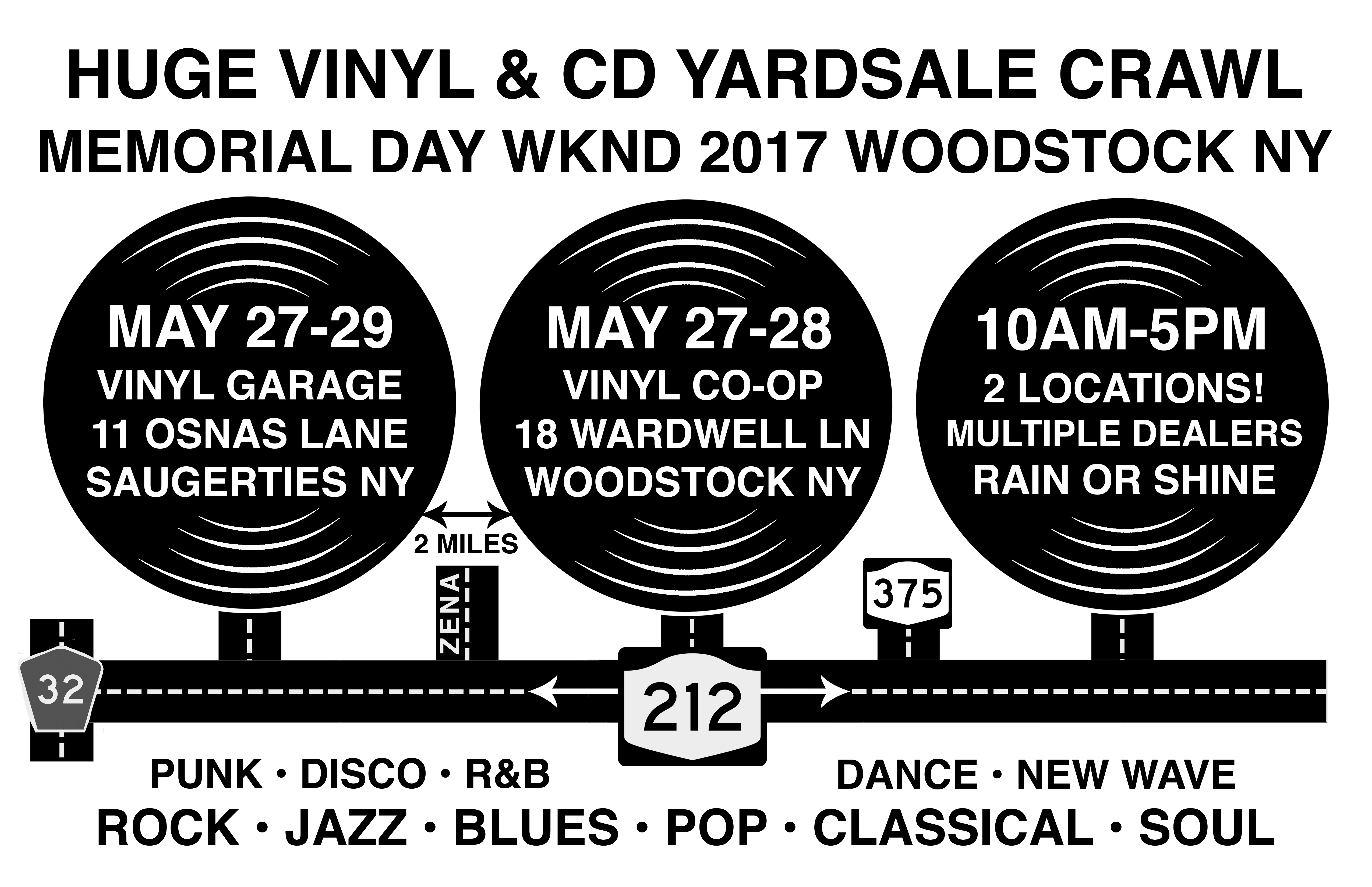 Memorial Day Weekend 2017 – Two Huge Music Yardsales – 10,000+ Vinyl LP Records, CDs and DVDs – Woodstock / West Saugerties NY