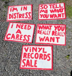 Follow the red and white signs to the Huge Music Yardsale in Woodstock