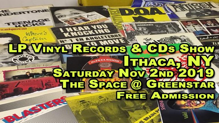 Ithaca NY – LP Vinyl Records & CDs Fair – Saturday November 2nd 2019 – The Space at Greenstar