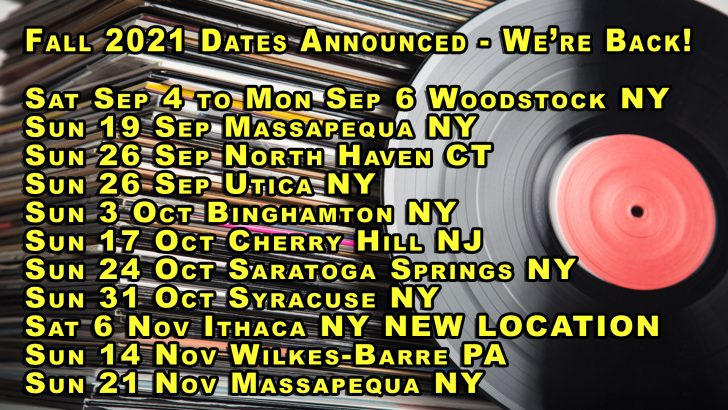We're Back! – Fall 2021 LP Vinyl Records & CDs Shows Announced – NY, PA, NJ